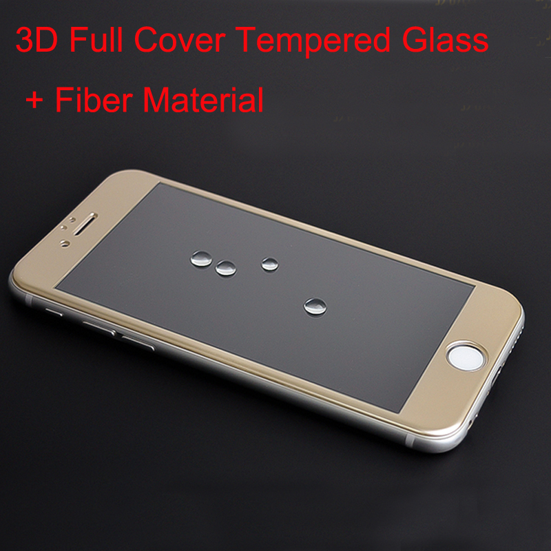 10pcs/lot 0.2mm 3D Full Cover Tempered Glass + Fiber Material Smooth Screen Protector Film for iphone 6/6s/6 Plus/6s Plus(China (Mainland))