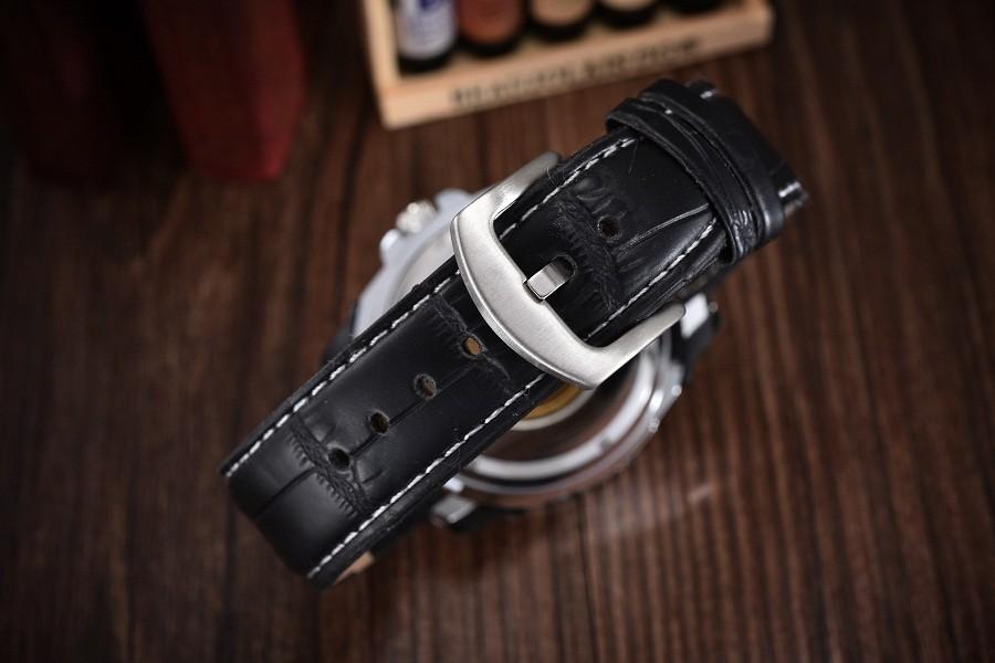 GOER марка Моды кожа мужские часы механическая Автоматическая водонепроницаемый Скелет мужчины Наручные часы движение