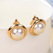 Hot Lovely Wedding Gold Plated Big Imitation Pearl Ear Cuff Jewelry Clip On Earring for Women Girls Bridal Cartilage Non Pierced(China (Mainland))