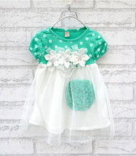 New Baby Kids font b Girls b font Floral Dot Print Crew Neck Dress Summer Short