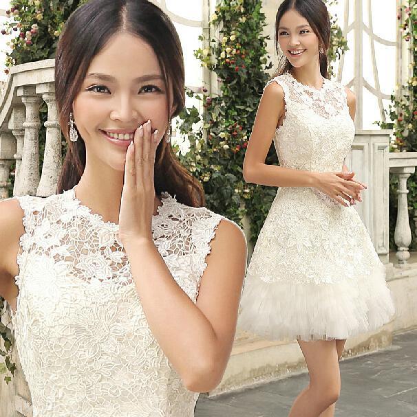 2015 Beautiful Short Wedding Dresses A Line Crew Lace Organza Short Mini Wedding Dresses Custom Made(China (Mainland))