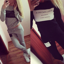 2015 Fashion Women Sportswear Printed Letter Fall Tracksuits Long sleeve Casual Sport Costumes Mujer 2 Piece