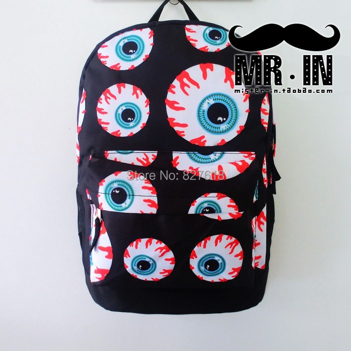 Japanese harajuku style fashion big blue blood eyes backpack personalized lovers bag novelty school bags for boys and girls<br><br>Aliexpress
