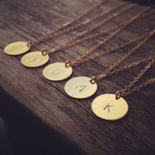2015 Initial necklace personalized Discs Charm Custom Letter friendship Jewelry Gift Golden Round Plate