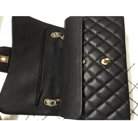 Fashion Classic Flap Genuine Cow leather Brand Bag Black Caviar Leather Quilted Double Flap Bag women's Shoulder Bag CC bag(China (Mainland))
