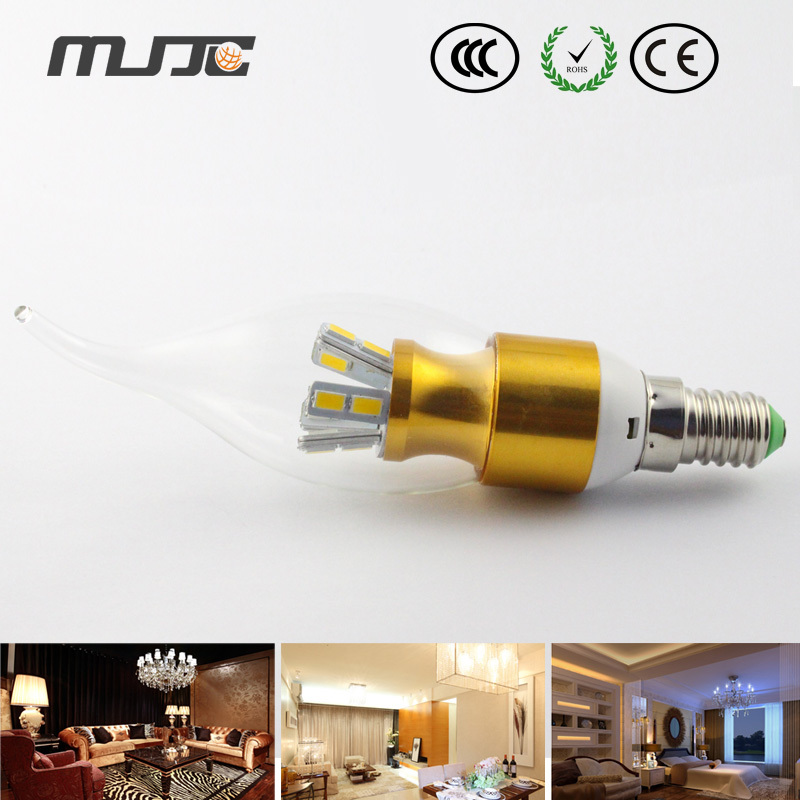90-260V(90-260V) Gold pull the end of E14 7W highlighted candle bulb 90-265VAC warm white Led candle tube(China (Mainland))