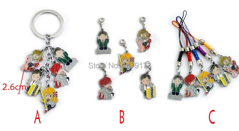 Cartoon Movie TV Gekkan Shoujo Nozaki-kun metal 5figures keychain set phone straps fashion colorful pendants Keyring - Moonsytoy store