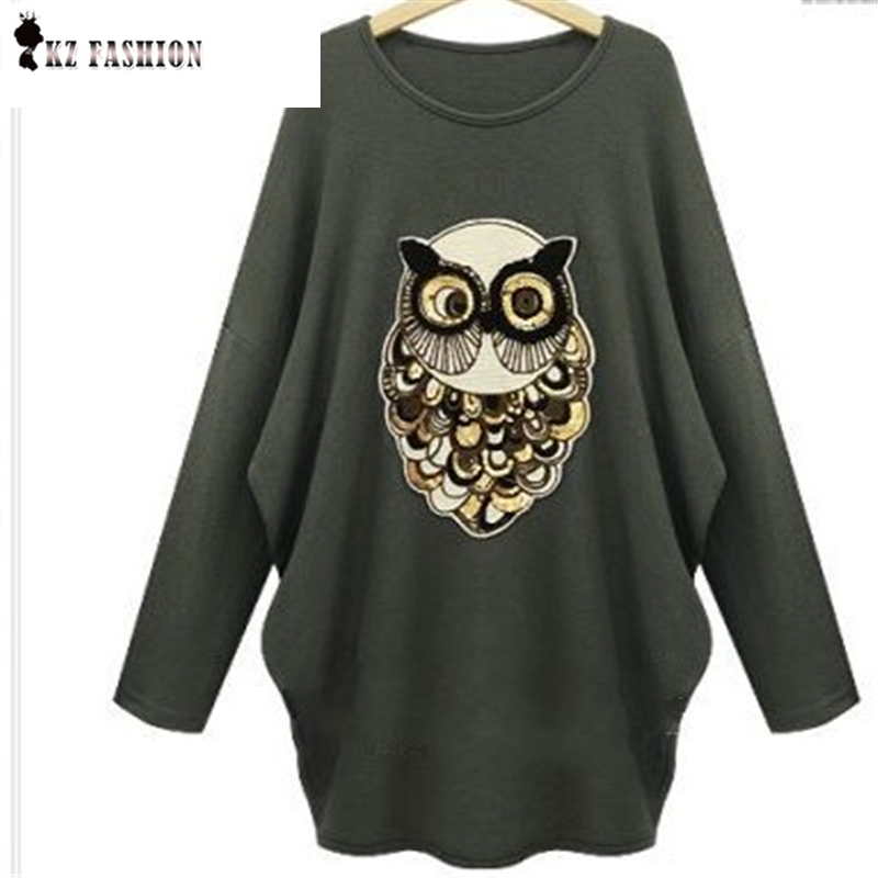 Women Owl Patch Design Sweater O-Neck Long Sleeve Batwing Knitted Pullover Stretch Casual Autumn Winter Knitted Tops C5N340(China (Mainland))