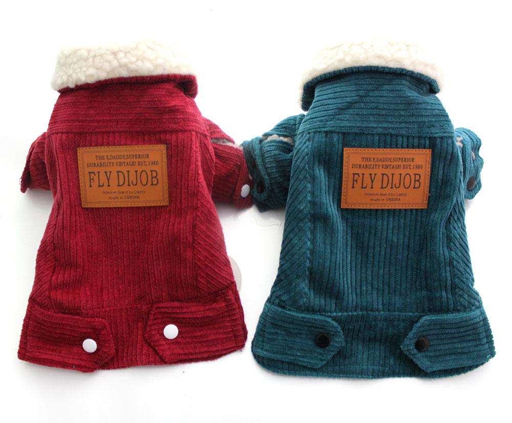 Boy Pet Dog Corduroy Coat Jacket Cat Puppy Warm clothes 5 sizes 4 colors(China (Mainland))