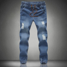 2016 spring and summer new men's jeans pants Korean style influx blue casual trousers cool stretch man pants(China (Mainland))