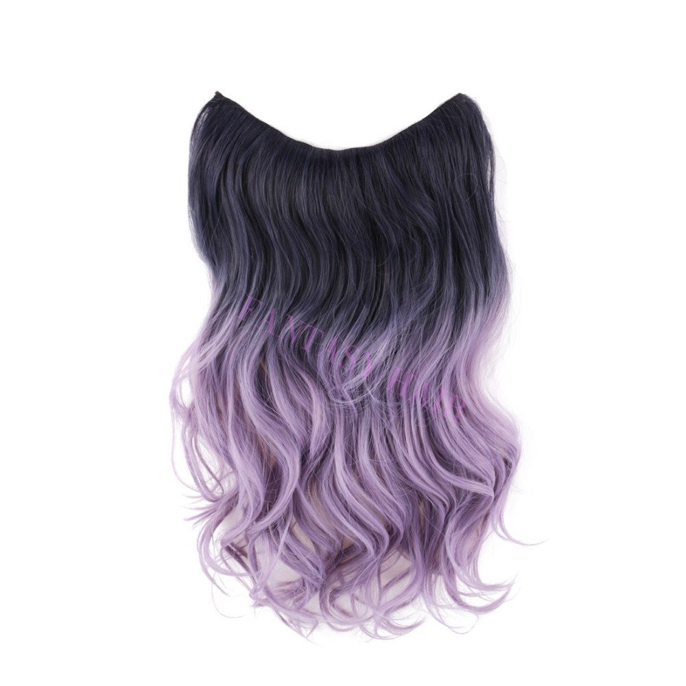 20 inch one piece brazilian natural wave light purple lavender black ombre hair lady synthetic invisible flip in hair extensions-3
