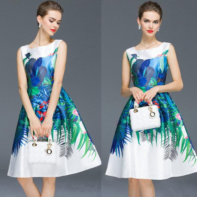 Евро Американский Стиль Озера Синие тона тропических Шаблон Печатной Рукавов На Молнии Мяч Офисное Платье