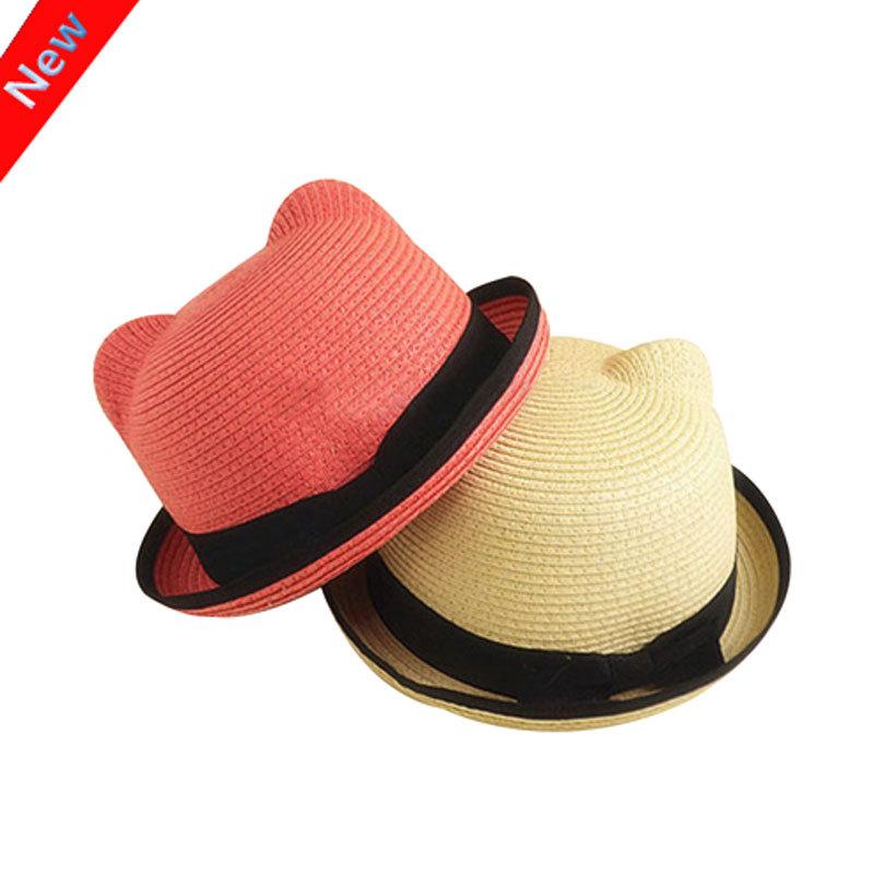 2016 New Kids Straw Hats Fedora Hat Children Beach Sun Baby Ear Vintage Baby Boy And Girl Wide Brim Floppy Panama(China (Mainland))