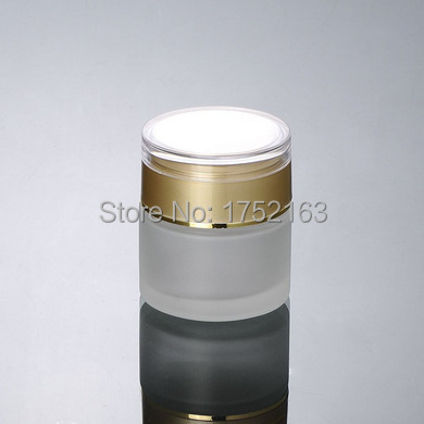 NEW 50G Frosted Glass Cream Jar Cosmetic Container jar Packaging Bottle Gold cap - Mini packing world store