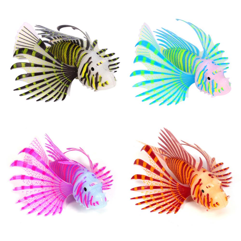 4 Colors Fish Tank Aquarium Landscaping Decoration Glow Silicone Plastic Simulation Lionfish home Artificial Ornament(Hong Kong)