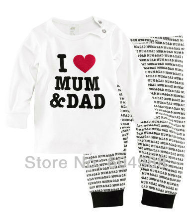 L LOVE MUM DAD Pajamas suits Baby Sleepwear suits Shirts + pants Kids long sleeve Underwears sets Boys' Girls' Nightwear suits