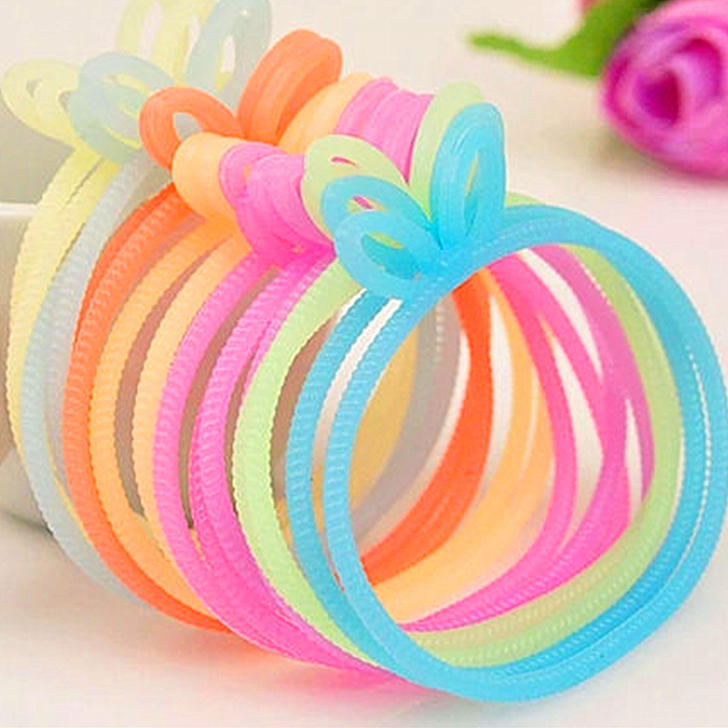2016 New Fashion Jewelry Women DIY Colorful Elastic Loom Silicone Bands Bracelets Girl 's Rabbit Ear Rubber Band Bracelet Bangle(China (Mainland))