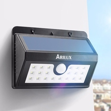 ARILUX Wireless Solar Powered Solar Light 20 LED Waterproof IP65 PIR Motion Sensor Outdoor Fence Garden Pathway Wall Light