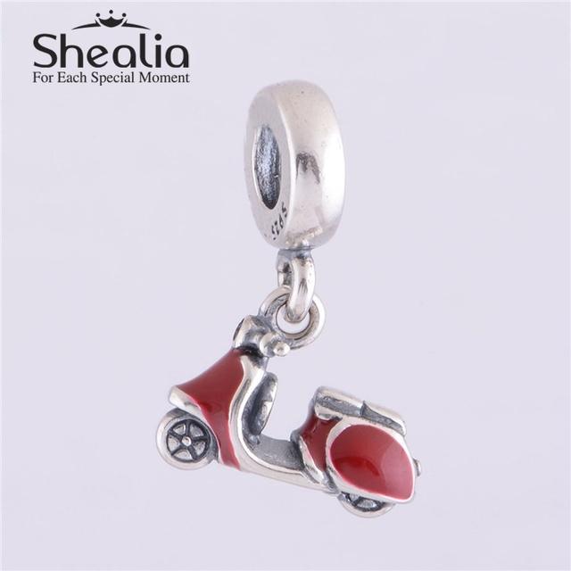 925 красной эмалью скутер мотаться нитки бусины DIY ремесло ювелирных изделий подходит европейским очаровывает браслеты и браслет