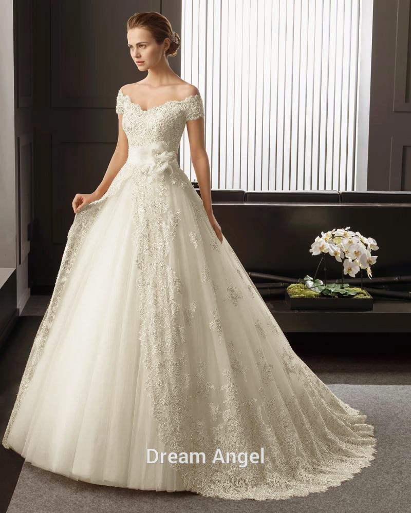 New Fashionable Organza Lace Princess Wedding dress 2015 Summer Sweep Train V Neck Sexy Luxury Wedding Gowns Plus Size Hot Sale(China (Mainland))