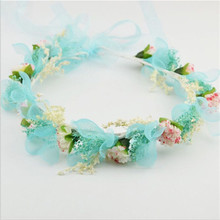 2016New Fashion Wedding Headband Kids Party With Ribbon Adjustable Hairbands Dry flower Crown Beach Wreath Gift Hair Accessories
