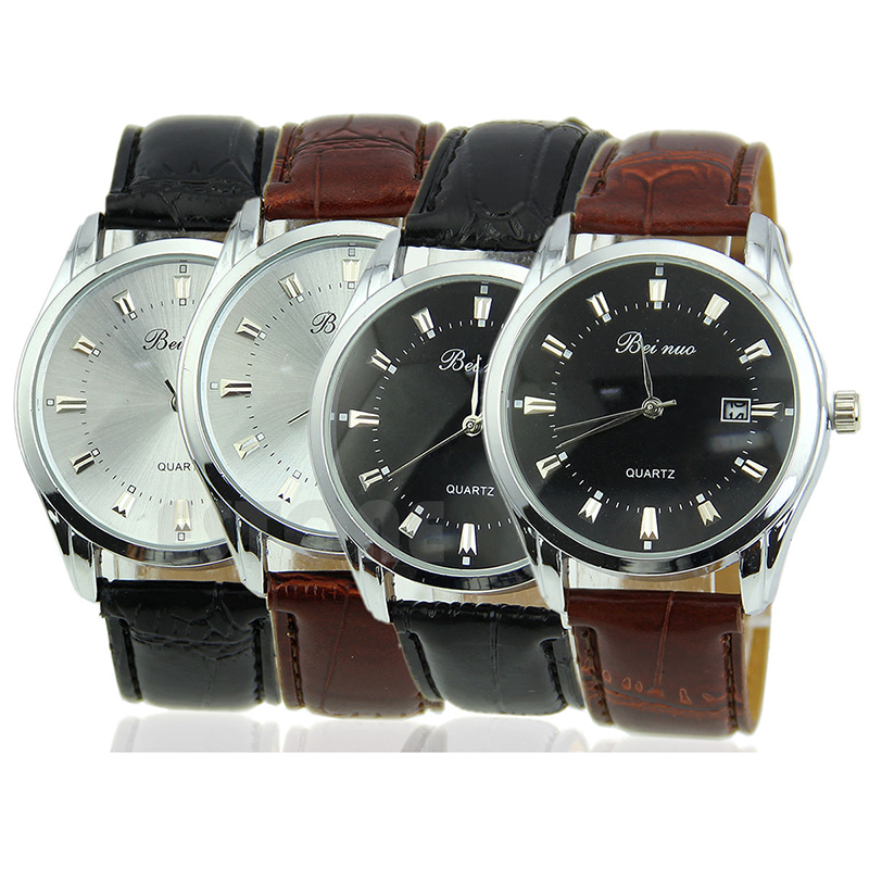 Vintage Stainless Steel Calendar Dial Leather Men s Business Quartz Wrist Watch L05897