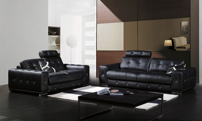 Free Shipping Classic 1 2 3 Black Leather sofa set Top grain leather and solid wood frame, streched headrest sofa set A021(China (Mainland))