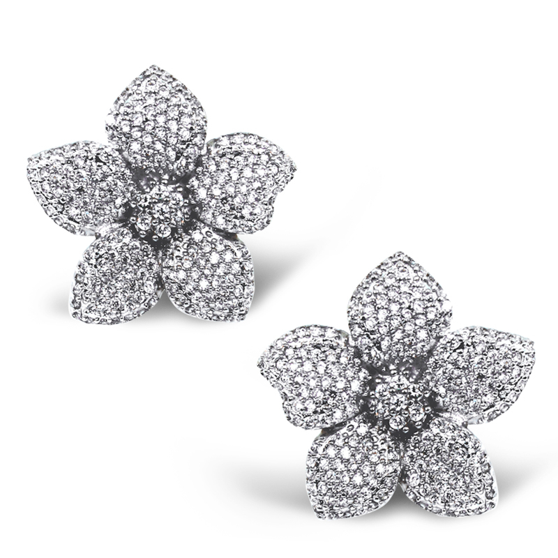 Fashion Secret Flower Design Studs Earrings For Women Lead Free Cubic Zirconia Micro Pave Setting Party Casual Nickel Free(China (Mainland))