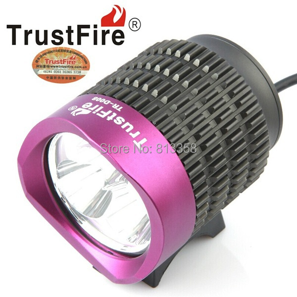 Free shipping TrustFire TR-D008 3 x Cree XM-L T6 2000lm 4-Mode White Bicycle Lamp - Black + Purple (1SET)<br><br>Aliexpress