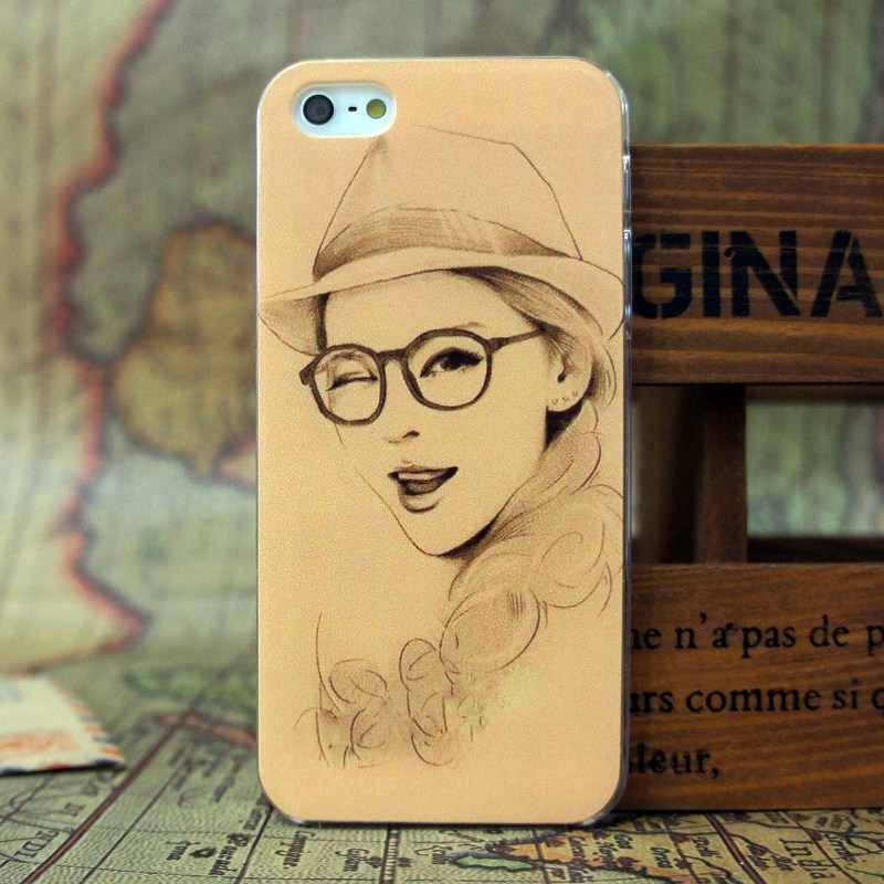 Free shipping case The latest sketch girl pattern Hard mobile phone cover for Iphone 5/5s(China (Mainland))