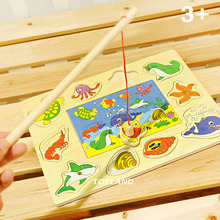 Free shipping kids Wooden Early education animal puzzles toy Magnetic Fishing game, one piece baby toys 12-36 months