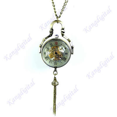 "M112""Antique Skelton Mechanical Big Glass Ball Necklace Pendant Pocket Watch Gift(China (Mainland))"
