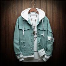 סתיו חדש סלעית ינס גברים אופנה מזויף שני חתיכות של Streetwear מפציץ מעיל גבר קאובוי בגדי זכר m-3XL(China)