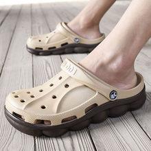 גן גומי פרדות מעצב סגור הבוהן מזדמן כפכפים מסלול שקופיות כפכפים נעליים בתוספת גודל 47 Mens סנדלי 2019 קיץ חיצוני(China)