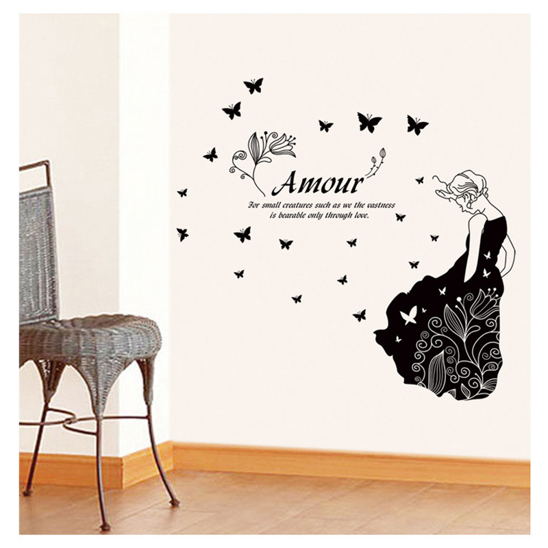 Wall Stickers <font><b>Home</b></font> <font><b>Decor</b></font> <font><b>Elegant</b></font> lady Personalized Stickers Arts PVC Wall sticker Removable Design Decorative Wall