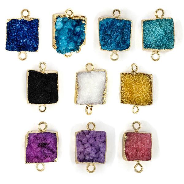 5pcs/lot Multicolor 1.5*1.5cm Big Square Druzy Pendant Necklace Natural Stone Necklace RT-046<br><br>Aliexpress
