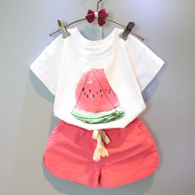 Buy Girls Clothing Sets 2016 New Summer Girls clothes Watermelon Pattern Print Kids clothes T-shirt + Red Shorts Children clothing for $7.83 in AliExpress store