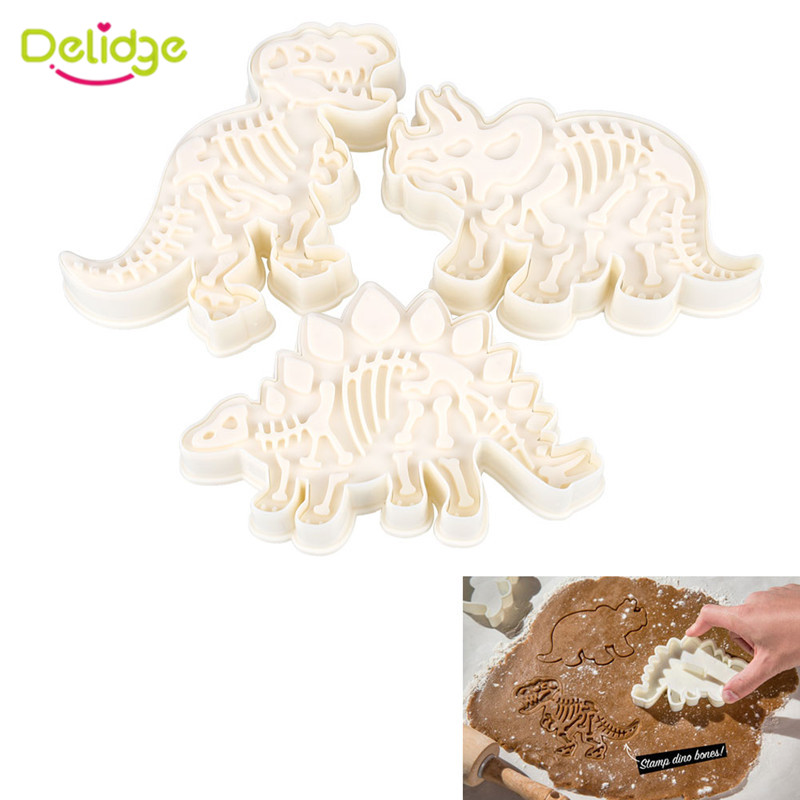 Delidge 3pcs/set Dinosaur Shaped Cookie Cutter Mold 3D Biscuit Sugarcraft Dessert Baking Mould Fondant Cake Decorating Tools(China (Mainland))