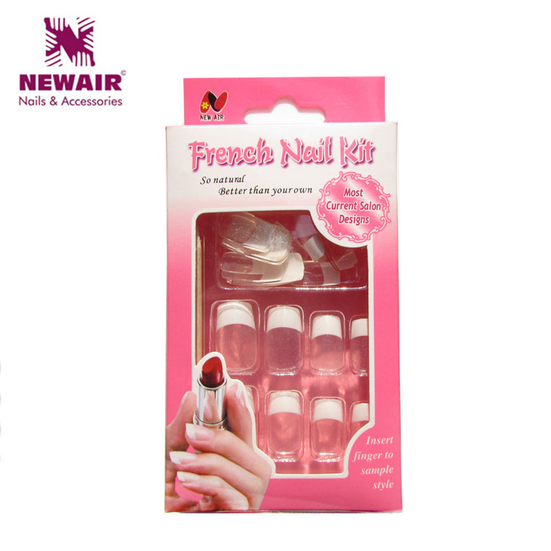 Hot Sale ABS UV Oil Classical Clean French Nail Tips Full Cover Nails Free Glue 24*3 Pcs/ Lot Wholesale Free Shipping<br><br>Aliexpress