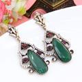 New Arrival Luxury Brand Emerald Earrings Turkish Vintage Floral Design Women Vintage Brincos Grandes Earring From