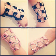 Fashion Jewelry Sexy Kawaii Harajuku Handmade Harness Faux Leather Punk Rock Heart Hand Cuff Harness Bangle Bracelets(China (Mainland))