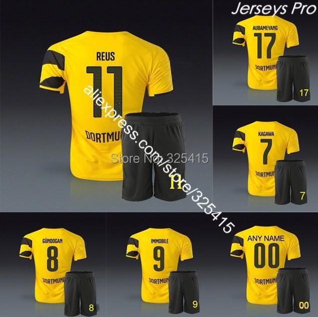 Borussia Dortmund bvb home yellow soccer jerseys uniform kit Marco reus kagawa gundogan hummels aubameyang mkhitaryan ramos(China (Mainland))