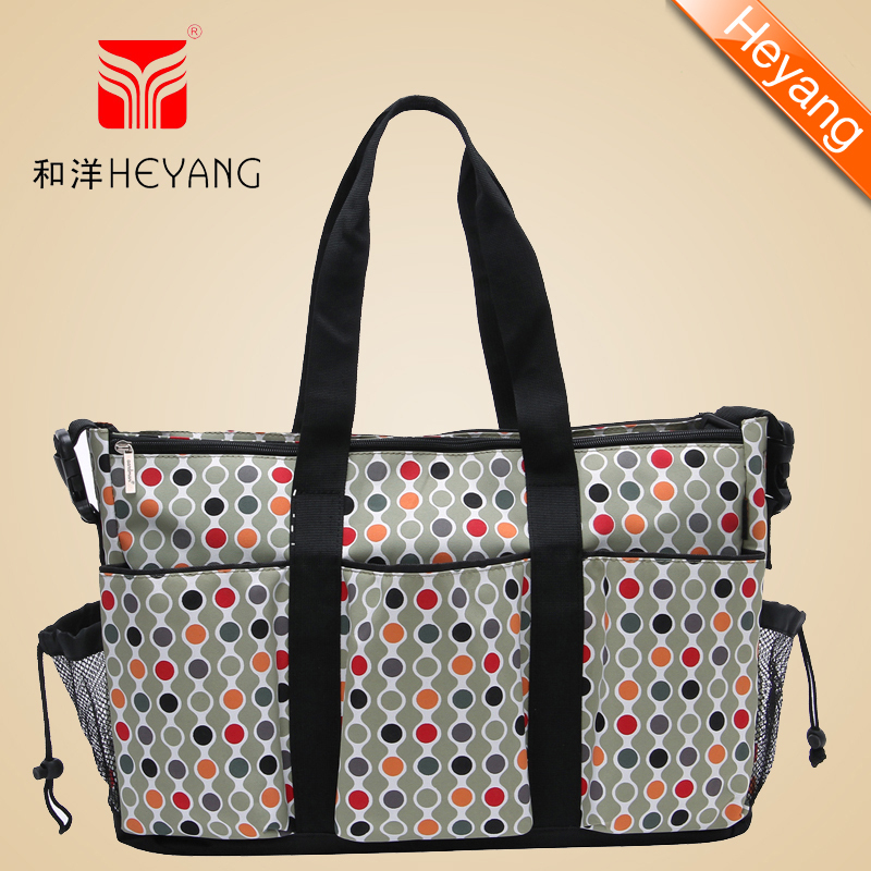 Free shipping2015 New Arrival Wholesale Fashion hot bags300D dot Khaki quilted designer baby nappy diaper handbag for mummy1107(China (Mainland))