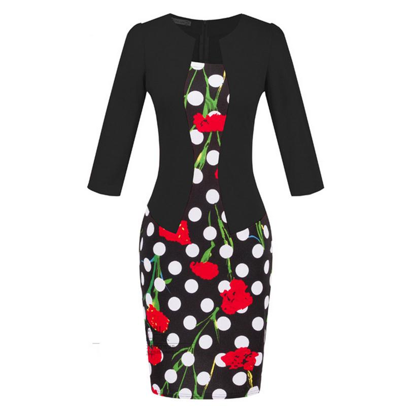 Brand Elegant Women Formal Bodycon Cotton Dress Girl Pencil Flower Dress For Female Office Sashes Woman