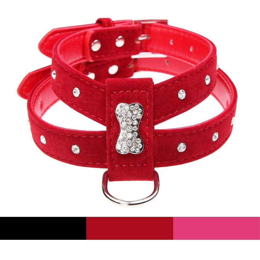 3 Цвета Bling Горный Хрусталь Кости Бархат и Кожа Pet Puppy Dog Collar жгут Чихуахуа Чашку