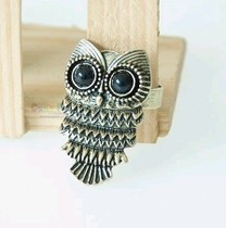 $10 (mix order) Free Shipping New Fashion Bronze Stud Owl Vintage Black Eye Alloy Ring R012 6g