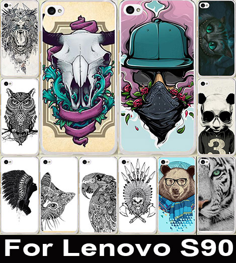 Popular Painting Cool Animal Cat Owl Giraffe Elephant Case Cute Colored Drawing Hard Plastic For Lenovo