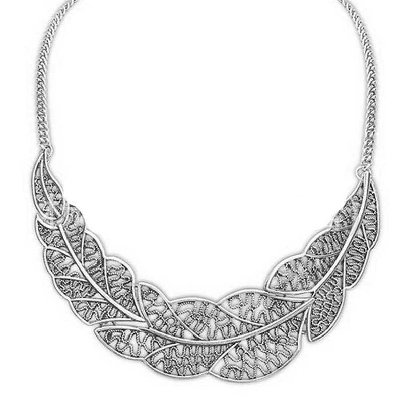 Hot Collier Femme Women Statement Collar Chain Zinc Alloy Pendant Necklace Jewelry Wholesale Silver Leaves Choker Colar Women(China (Mainland))