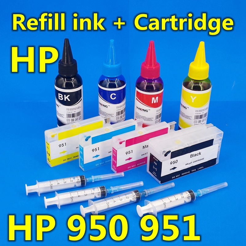Refill Ink Cartridge hp950 951 for Officejet Pro hp8100 hp8600 hp8610 hp8620 hp251DW hp276DW Plus with ARC chip+400ML ink(China (Mainland))