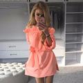 2016 Summer Dress Chiffon Sundress Women Casual Puff Sleeve Dress Plus Size Straight Dress Vestidos Sheath